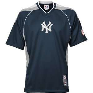 New York Yankees Blue Majestic V Neck Jersey Sports