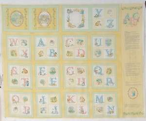 Potter Alphabet Soft Book 8 Quilt Block Squares Baby Boy Girl Yellow