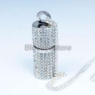 3D 4GB Crystals Lipstick Case Necklace Jewelry USB 2.0 Flash Memory