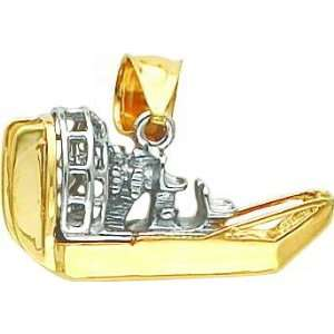 14K Two Tone Gold 3D Airboat Pendant Jewelry
