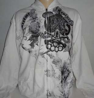 Xtreme Couture MMA Ace of Spades Skull White Mens Hoodie Jacket M