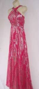 AIDAN MATTOX Pink/ Silver Metallic Chiffon Formal Gown Prom Dress 14