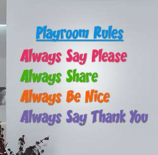 Playroom Rules (Preschool, Daycare, Kids)   Wall Quote Decals Stickers