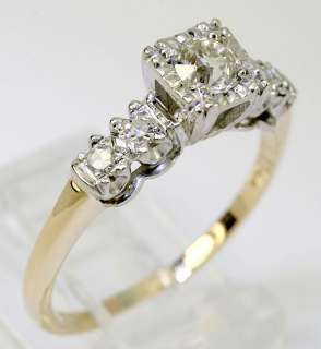 EUROPEAN CUT 5 RND DIAMOND 14K TWO TONE GOLD ENGAGEMENT RING