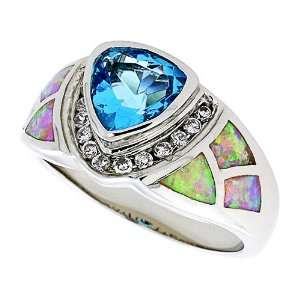 Engagement Ring Sterling Silver, Synthetic Pink Opal Ring, w/ Trillion