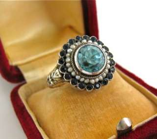 Antique/Vintage Austro Hungarian Silver, Blue Zircon & Split Pearl