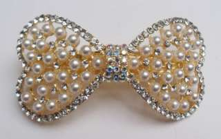 Clear SWAROVSKI CRYSTAL Bow Tie HAIR BARRETTE CLIP G