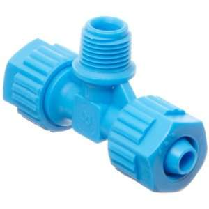 Polypropylene Compression Tube Fitting, Tee Adapter, Blue, 8 mm Tube
