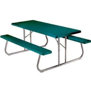 Commercial Folding 6 Picnic Table, Hunter Green