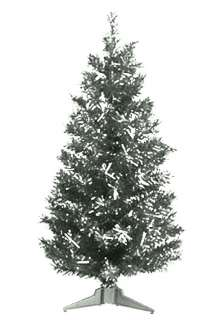 PRE LIT CHRISTMAS TREE / RETRO / SILVER TINSEL / 2 FT