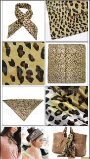 Fashion Womens Leopard Pattern Square Scarf Soft Wrap Shawl