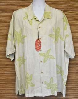 TOMMY BAHAMA Camp Shirt XL New Patio Palms Ivory SS NWT