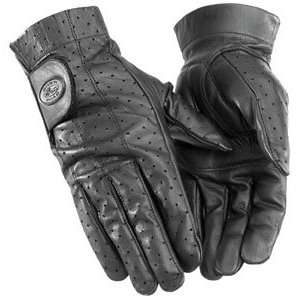 River Road Tucson Perforated Leather Motorcycle Gloves Black