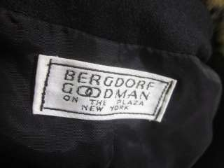 BERGDORF GOODMAN Black Faux Fur Wool Coat Jacket Sz 6