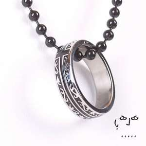 Stainless Steel Cross Ring Necklace Ball Chain/Leather