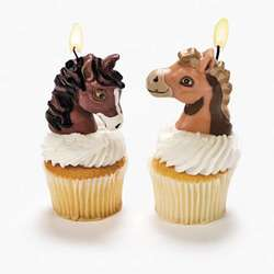 Lot of 4 Pony Birthday Cake Candles Party Supplies