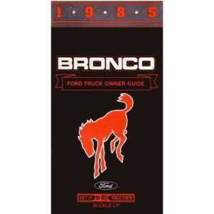 1985 FORD BRONCO Owners Manual User Guide Automotive