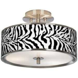 Safari Zebra Giclee Glow 14 Wide Ceiling Light