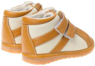 Boys Infant Toddler Leather Squeaky Shoes Boots   Tan & Cream with