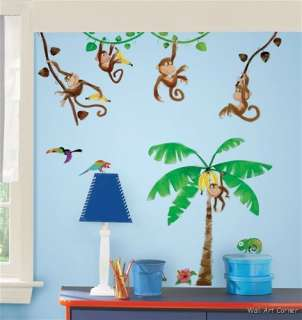 Wall Sticker Decals   Jungle Monkey Business & Coconut Tree
