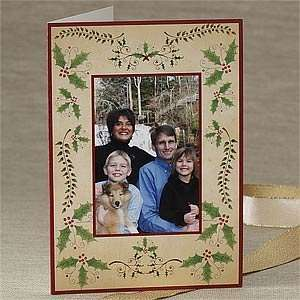 Personalized Christmas Holly Photo Greeting Cards