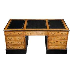 English Antique Style Art Deco Maple Partners Desk