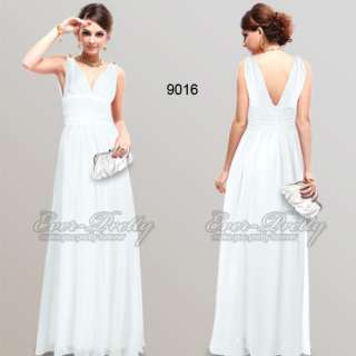 New Elegant Whites Chiffon V neck Diamante Pageant Gown Dress 09016WH