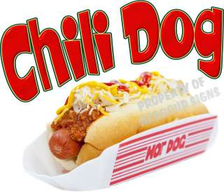 Chili Dog Hot Dog Decal 10 Concession Food Truck Van Stand Cart Vinyl
