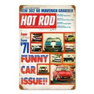 Hot Rod Magazine 1971 Funny Cars Metal Sign