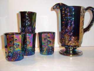 Mosser Glass AMETHYST PURPLE CARNIVAL PANELED GRAPE PITCHER & 4