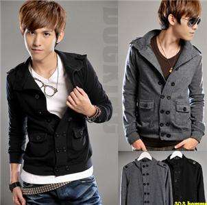 Mens Stand Collar Double Breasted Slim Fit Coat Jacket