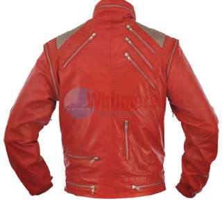 Beat It Replica Red Original Leather Jacket   Silver Mesh