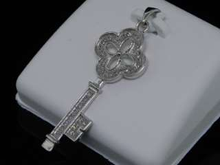 LADIES WHITE GOLD FINISH DIAMOND DESIGNER KEY PENDANT