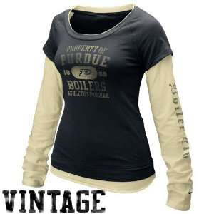 Nike Purdue Boilermakers Ladies Black Gold Cross Campus Double Layer