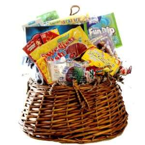 Fishing Creel Basket Filled with Nostalgic Candy Sweets