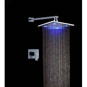 Single Handle Wall Mount Rain Shower Faucet?build in LED Lights,chrome
