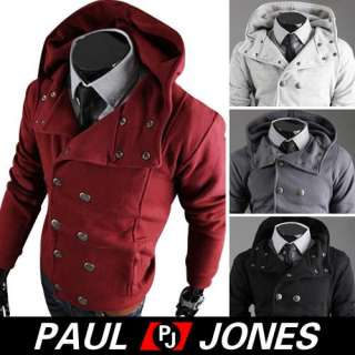 PJ Men's Stylish Slim Fit Jackets double breasted Coats Hoody Size