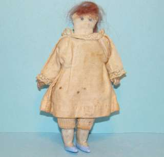 Antique Miniature Child Church Rag Cloth Doll in Pink Dress