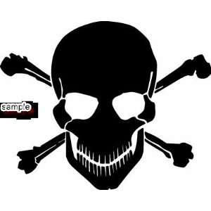 EVIL CROSSBONES SKULL WHITE VINYL DECAL STICKER