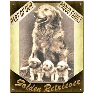 Golden retriever Dog sign cute puppy family art