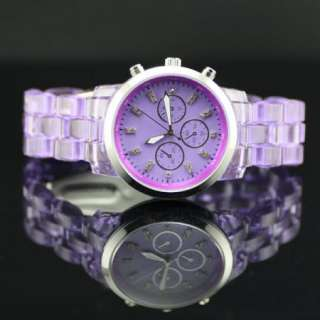 Big Case Elegant Lady Men Transparent Plastic Wrist Watch Purple SALE