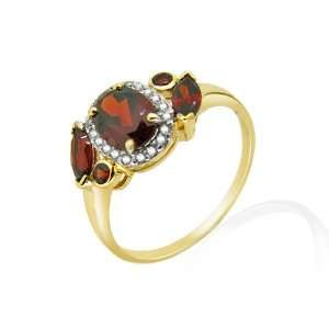 9ct Yellow Gold Garnet & Diamond Ring Size 9 Jewelry