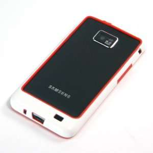Red + White / Plastic Bumper Case for Samsung Galaxy SII / S2 / i9100