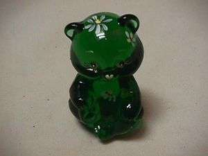 FENTON HANDPAINTED DAISY MINI EMERALD GREEN BEAR MADE EXCLUSIVELY GIFT