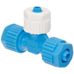 Tube Fitting, Tee, Blue/White, 8 mm x 8 mm x 6 mm Tube OD (Pack of 5