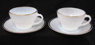 Anchor Hocking Fire King White/Gold Cup & Saucer Set