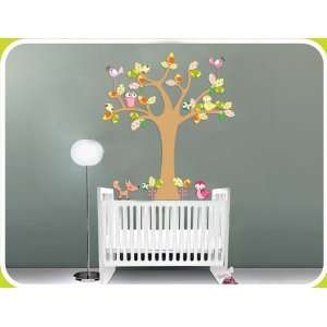 Kids Fun Tree Vinyl Wall Decal with Birds Owls and a Fox