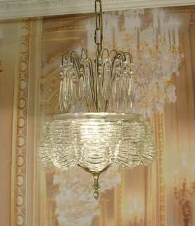 Vintage Antique Old Art Deco Glass Pendant Chandelier Crystal Prisms