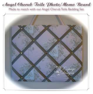 PINK ANGEL CHERUB TOILE BABY GIRL PHOTO MEMO BOARD NEW
