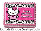 ZEBRA PRINT HELLO KITTY Edible Birthday Cake Party Image Topper Custom